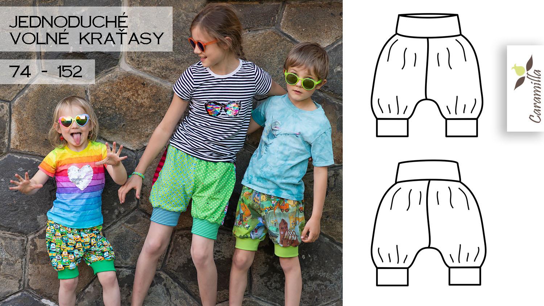 Nová verze střihu na jednoduché volné kraťasy pro děti