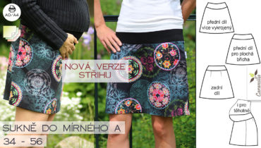 Nová verze střihu na dámskou krátkou sukni do mírného A