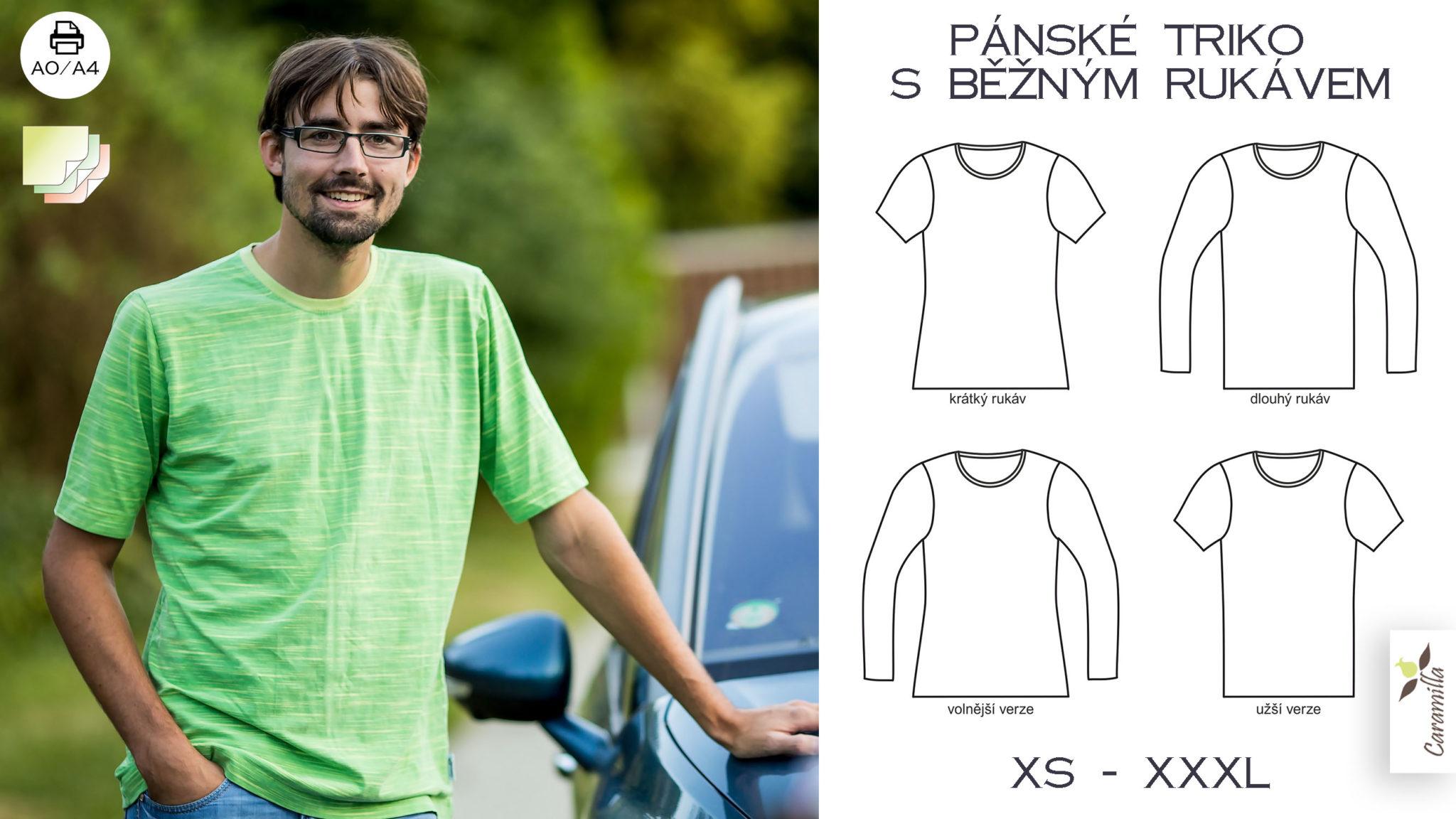 Pánské triko s běžným rukávem (střih a návod)