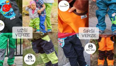 Střih na (nejen) softshellové kalhoty 98 – 170 (verze užší a širší)