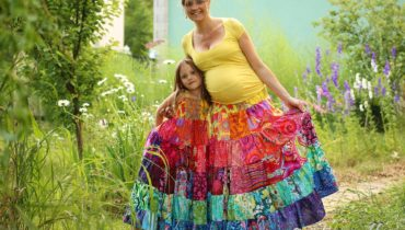 Mum and me – patchworkové kanýrové duhové šaty a sukně