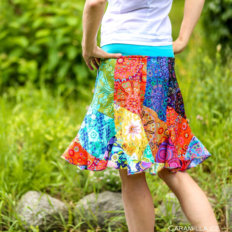 Patchworková sukně vlna MULTICOLOR
