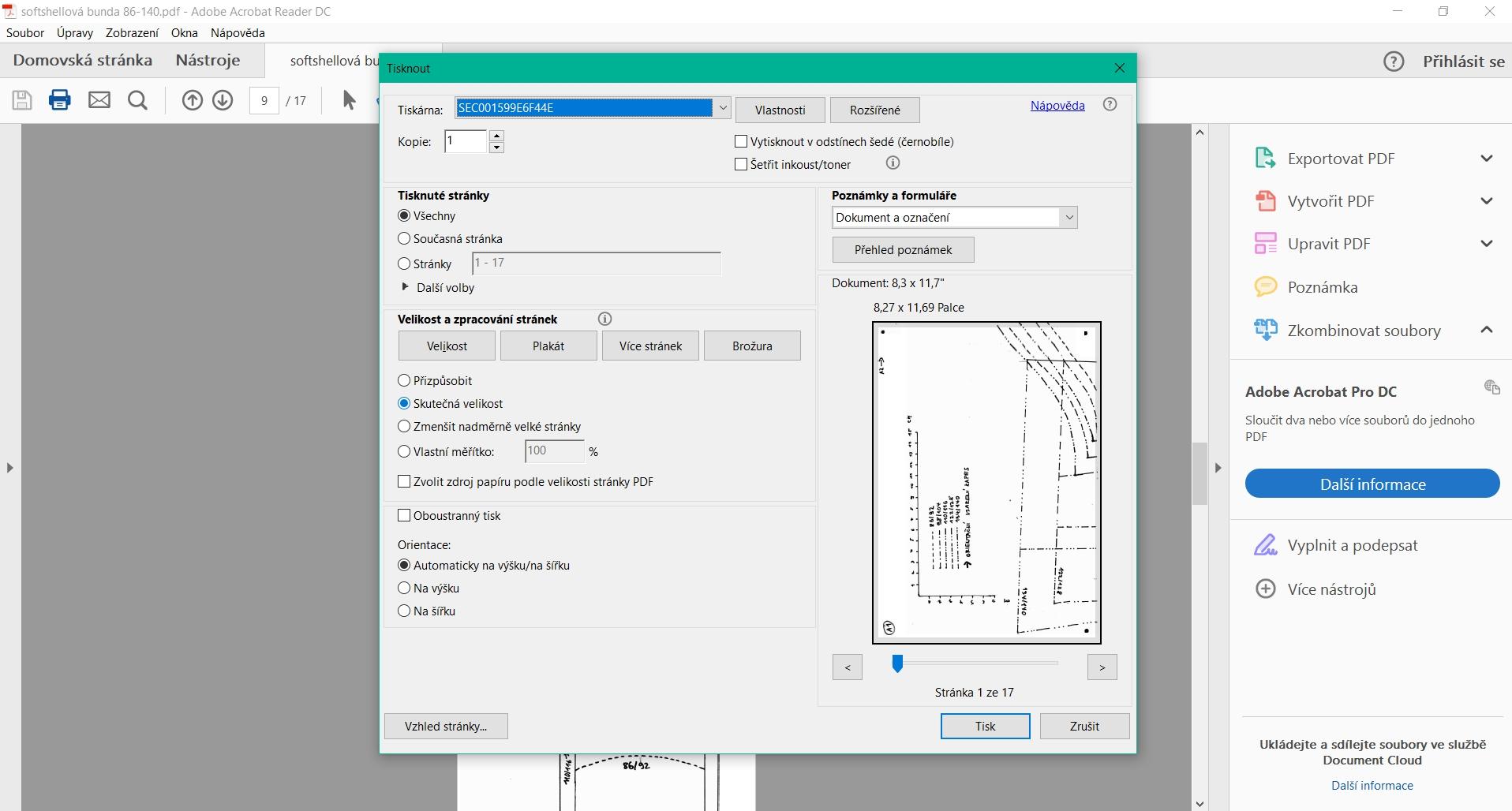 Tisk a složení střihu v PDF
