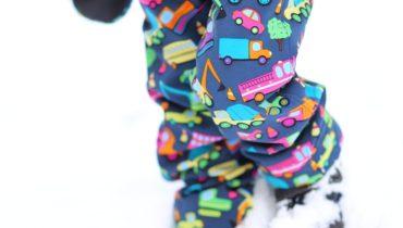 Softshellové kalhoty s autíčky a dinosaury