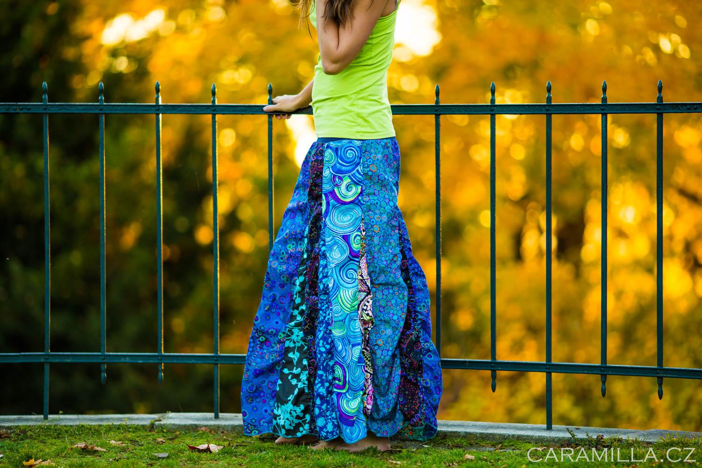 Podzimní patchworkové nabírané sukně