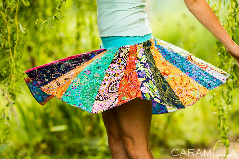 Patchworková kolová sukně do nápletu