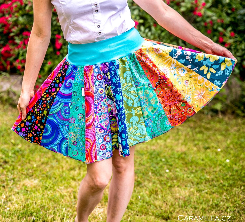 Patchworkové kolové sukně