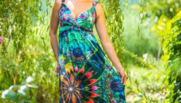 Dlouhé letní šaty pralesní symfinie – též pro kojící a těhotné