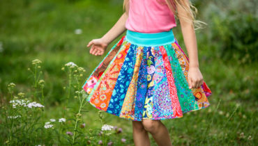 Patchworková kolová sukně pro holčičku