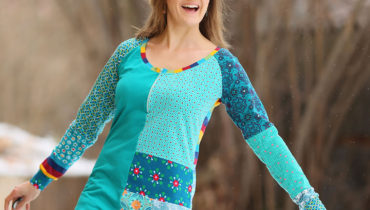 Patchworkové smaragdové triko na zip L/XL