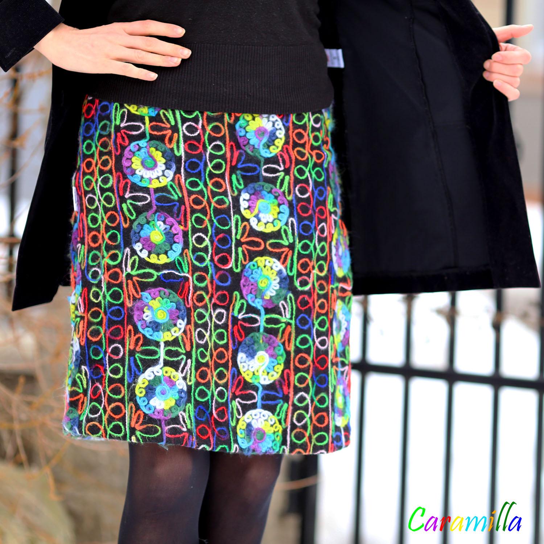 Zimní vlněná duhová sukně