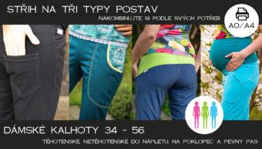 Nová verze střihu na dámské kalhoty na 3 typy postav (34 – 56) A4/A0 – černobíle/barevně