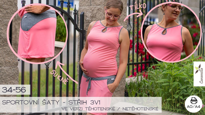 Sportovní šaty – střih 3v1 (Střih a návod) 34 – 56