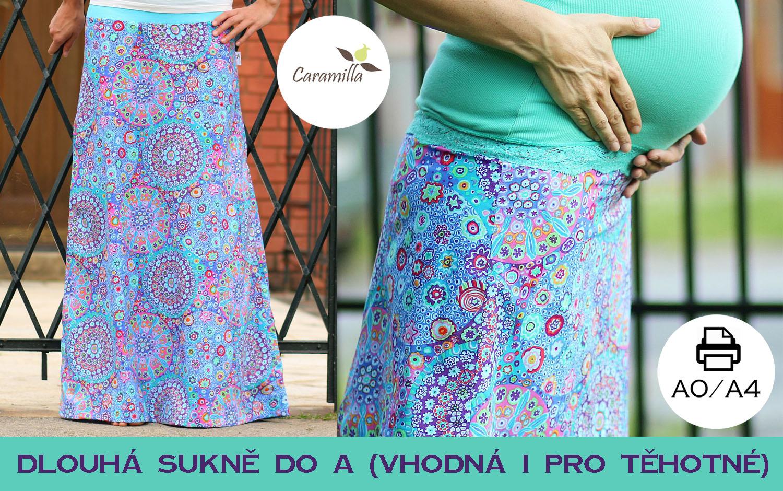 Střih na dlouhou sukni vhodnou též pro těhotné 34 – 56