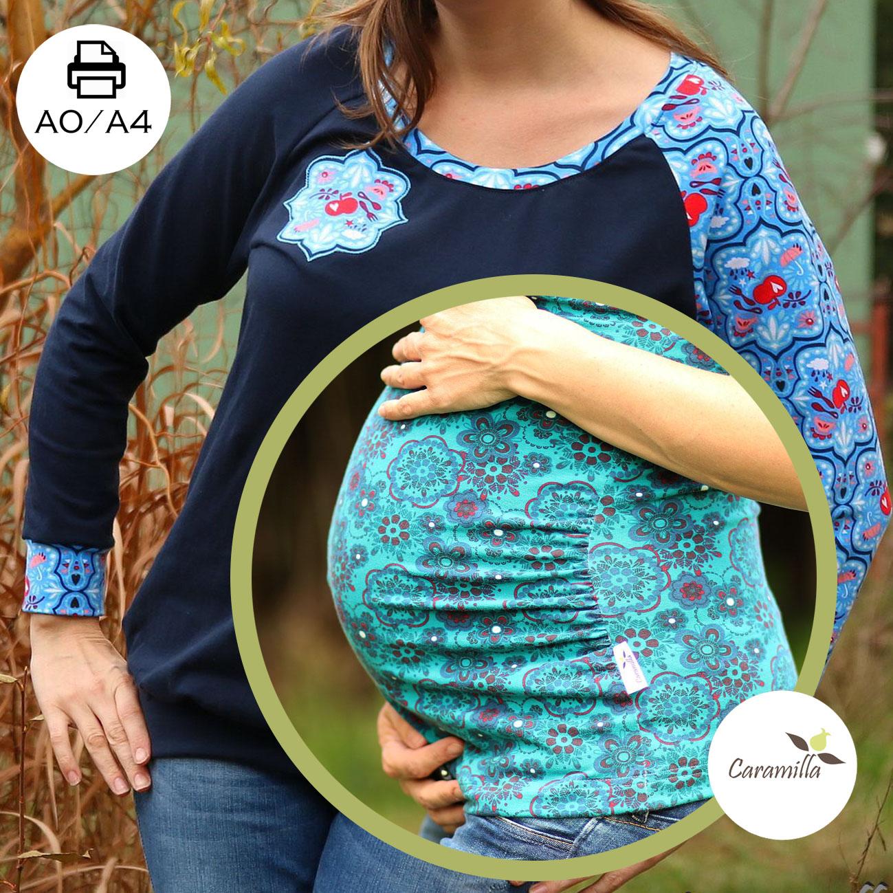 Těhotenská verze trika s raglánovým rukávem