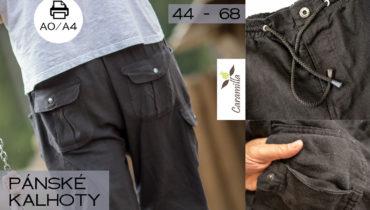 Pánské kalhoty kapsáče vel. 44 – 68 (střih a návod)