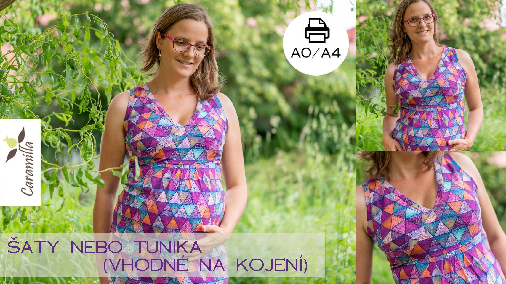 Šaty / tunika bez rukávů s překříženým výstřihem (verze nabíraná, hladká, na větší prsa, menší prsa, vhodné na kojení)