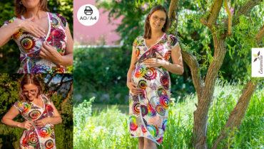 Zavinovací šaty (běžné, těhotenské, kojící, lze krátit na tuniku) střih a návod (34 – 56)