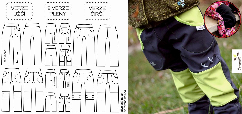 Dětské (nejen) softshellové kalhoty 68 – 170 (střihy – popis verzí a návody)
