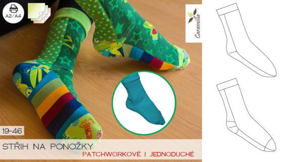 Střih na ponožky v barevné verzi a ve vrstvách
