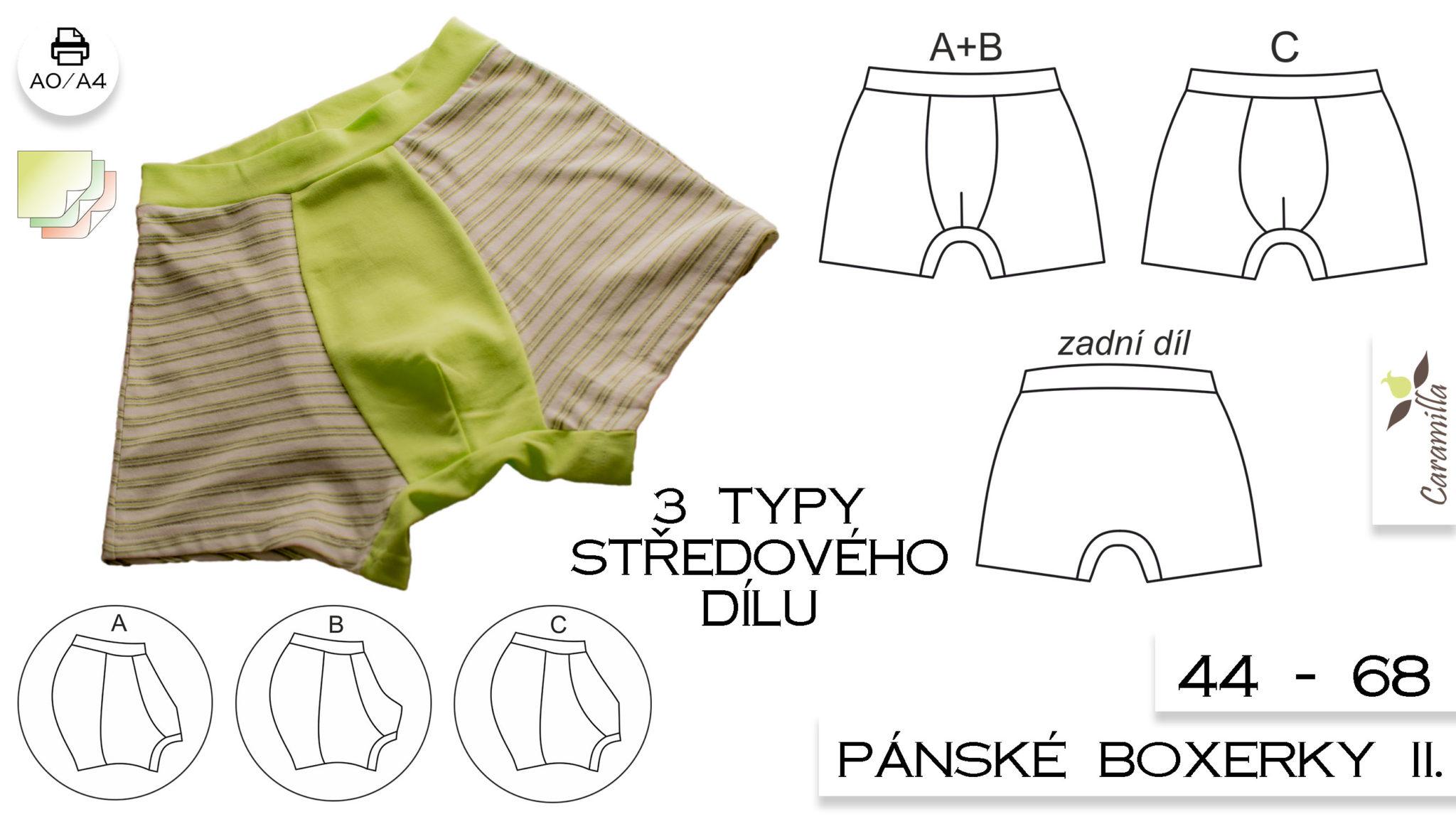 Pánské boxerky II. (střih se 3 typy středového dílu) 44 – 68