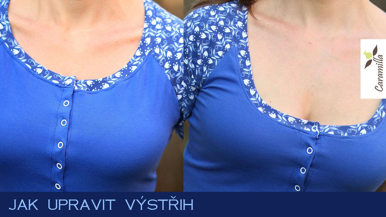 Úpravy střihů: dámské triko – hloubka výstřihu