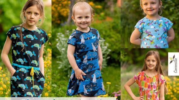 Dívčí triko / šaty s přinechaným rukávem (střihy a návod)