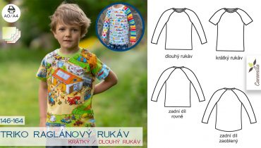 Dětské triko s raglánovým rukávem (střih a návod)