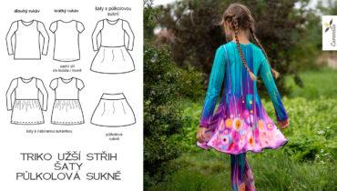 Triko s běžným rukávem užší střih | šaty s půlkolovou sukní (střih 86 – 164)