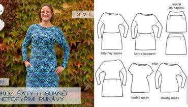Triko | šaty s netopýřími rukávy (střih a návod)
