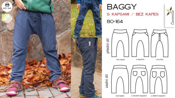 Baggy 80 – 164 (střih a návod)
