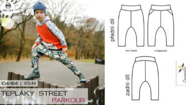 Street tepláky | tepláky na parkour (střih a návod)