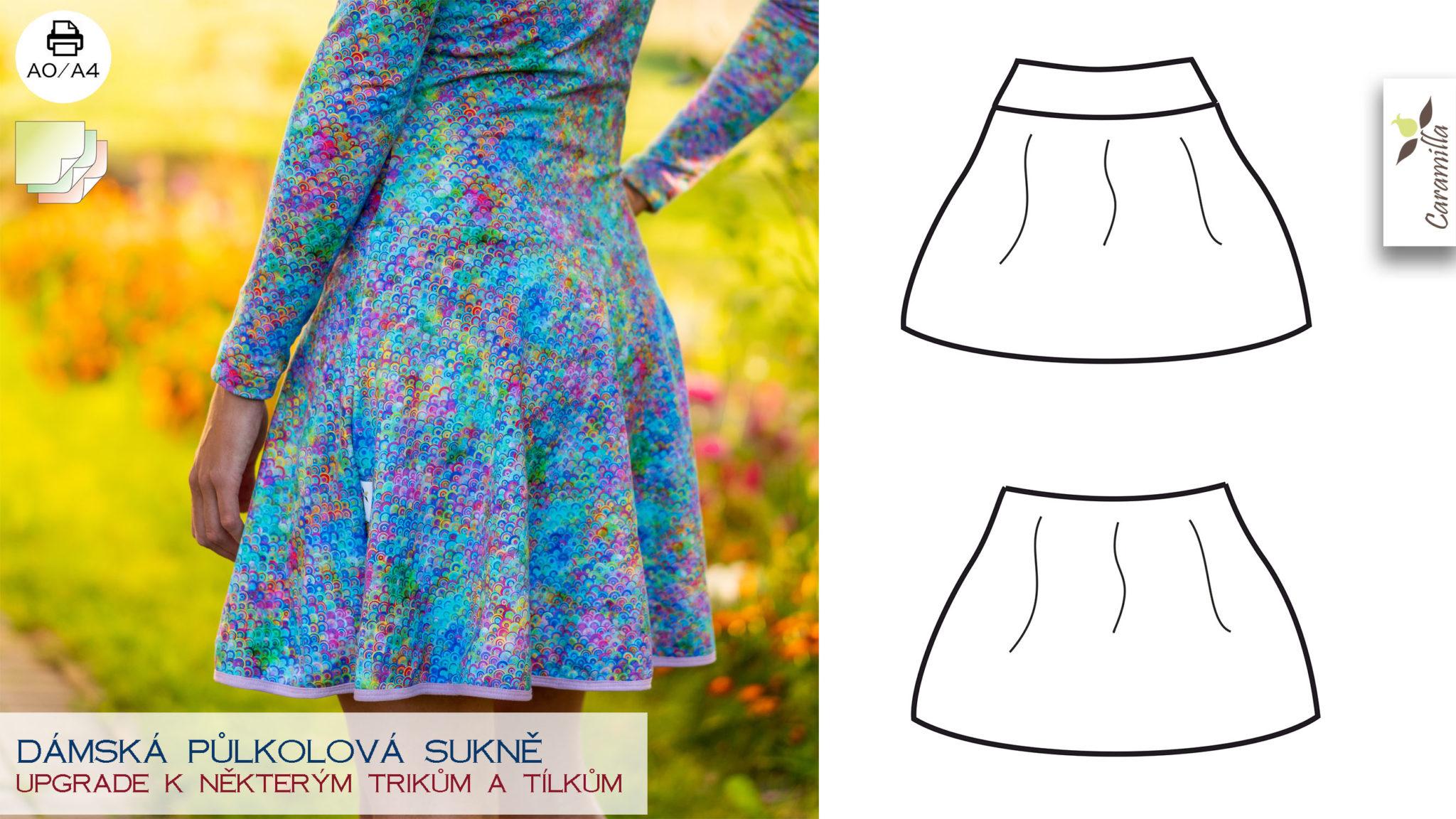 Půlkolová sukně (střih a návod)