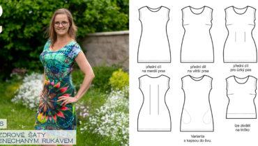 Pouzdrové šaty s přinechaným rukávem (střih a návod)