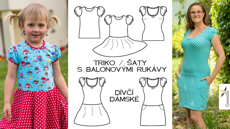Triko / šaty s balonovými rukávy (střih a návod)