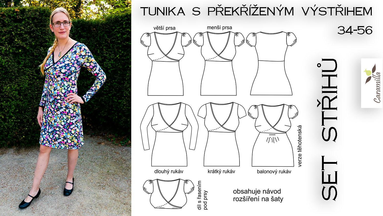 Tunika / Šaty s překříženým výstřihem a balonovými rukávy (střih a návod)