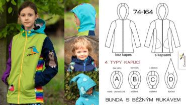 Softshellová delší bunda / kabátek s běžným rukávem 74 – 164 (Střih a fotonávod)