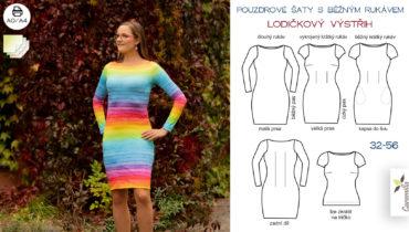 Pouzdrové šaty s běžným rukávem a lodičkovým výstřihem 32-56 (střih a návod)